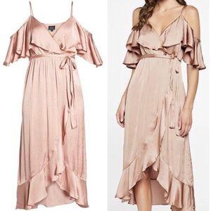 Bardot Cold Shoulder Nude Beige Ruffle Dress 4